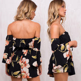 Floral off the shoulder short romper - Iconic Trendz Boutique