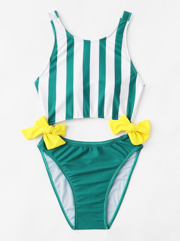 Bow cutout stripe one piece monokini swimsuit