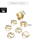 Gold tone 7pcs set irregular rings