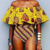 """Royal Queen"" African print off the shoulder 2 piece high waist bikini set"