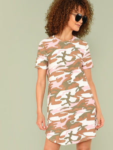 Pink camo retro tshirt dress