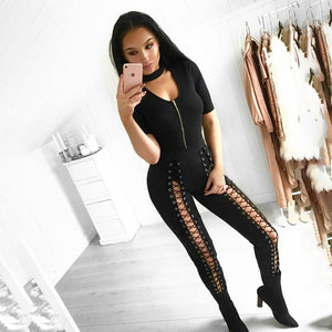 Danger lace up fashion jeggings pants