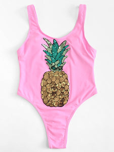 Pink sequined pineapple one piece monokini bikini swimsuit