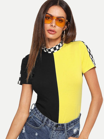 """Ny minute"" Checkered colorblock top"