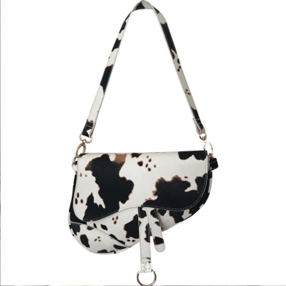 Classic luxury Animal print saddle handbag