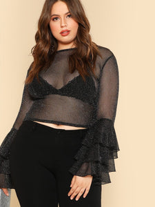 Plus Size Women sheer ruffle sleeve blouse