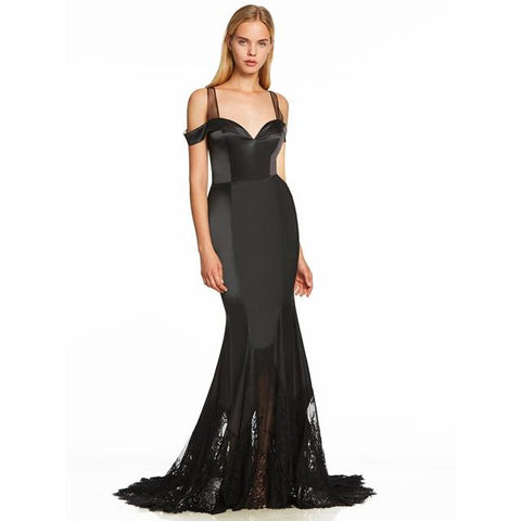 Black Classic mermaid elegant sheer lace detail long evening dress