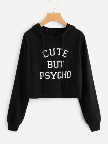 Cute but psycho pullover fashion crop sweater
