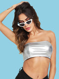 Silver metallic tube crop top