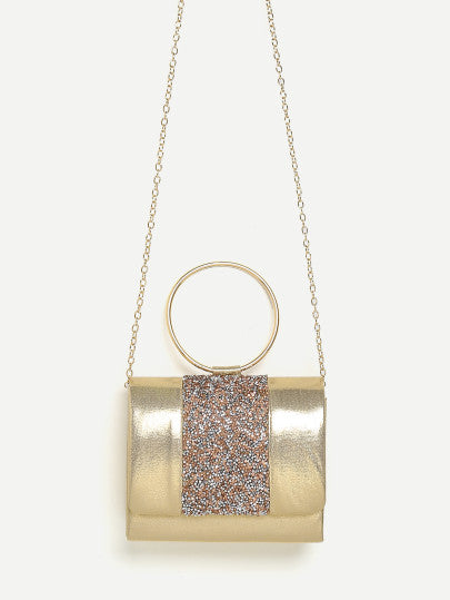 Gold glitter ring handle chain mini bag