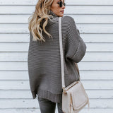 Women oversize comfy knitted turtle neck sweater