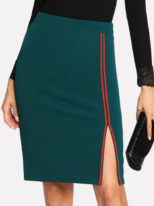 Green and red side split bodycon skirt