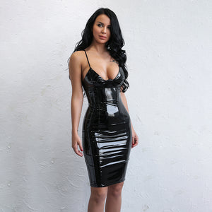 """Finishline"" black wet leather latex style bodycon dress"