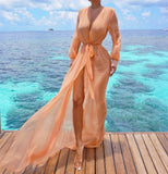 """Jansell"" sheer tie style swimsuit coverup long shirt dress"