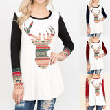 Ladies tribal Christmas reindeer long sleeve top