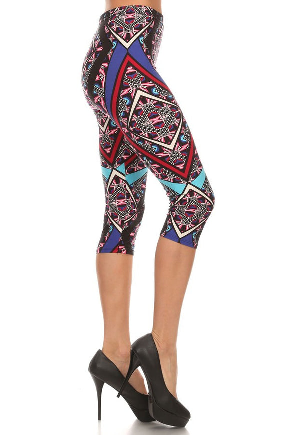 Women geometric capri leggings - Iconic Trendz Boutique