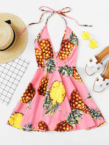 Pretty pineapple design skater mini day dress