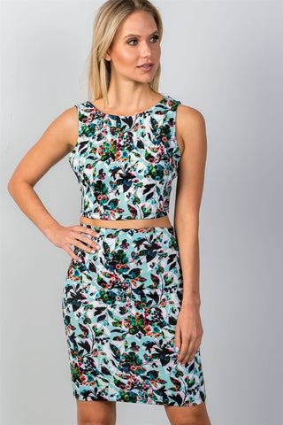 Ladies fashion multi floral print two piece set