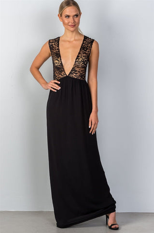 Ladies fashion sleeveless deep v plunge lace sheer top maxi dress