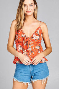Ladies fashion heart neck w/self tie detail floral print cami woven top