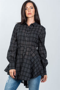 Ladies fashion black graph check print hi-low plume boho tunic shirt