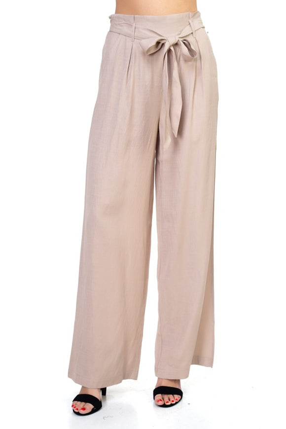 Trendy Belted Wide Leg Pants