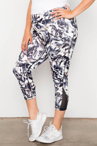 Plus Size Active Athletic Mid Rise Abstract Mesh Leggings