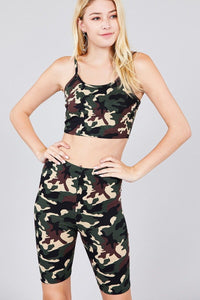 Camo Print Crop Cami Top & Short Pants Dty Brushed Set