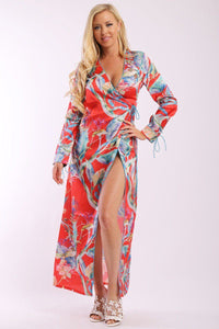 Floral Print, Wrapped, Kimono Style, Satin Dress With Long Sleeves, High Front Slit And Decorative Trimming