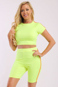 Neon Side Stripes 2 piece Cropped Top And High Waist Shorts