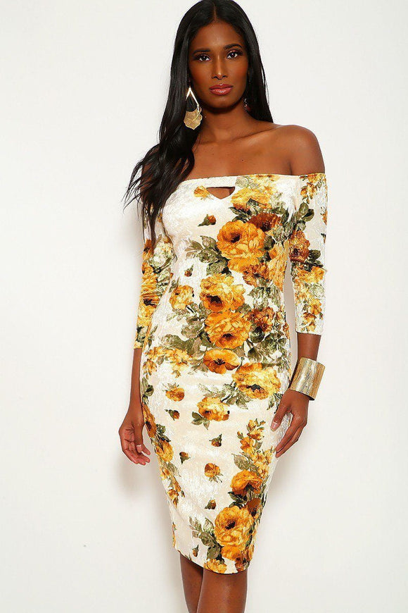 Crushed Velvet Floral Midi Dress With 3/4 Sleeves, Off The Shoulders Neckline And Keyhole In Bodycon Fit