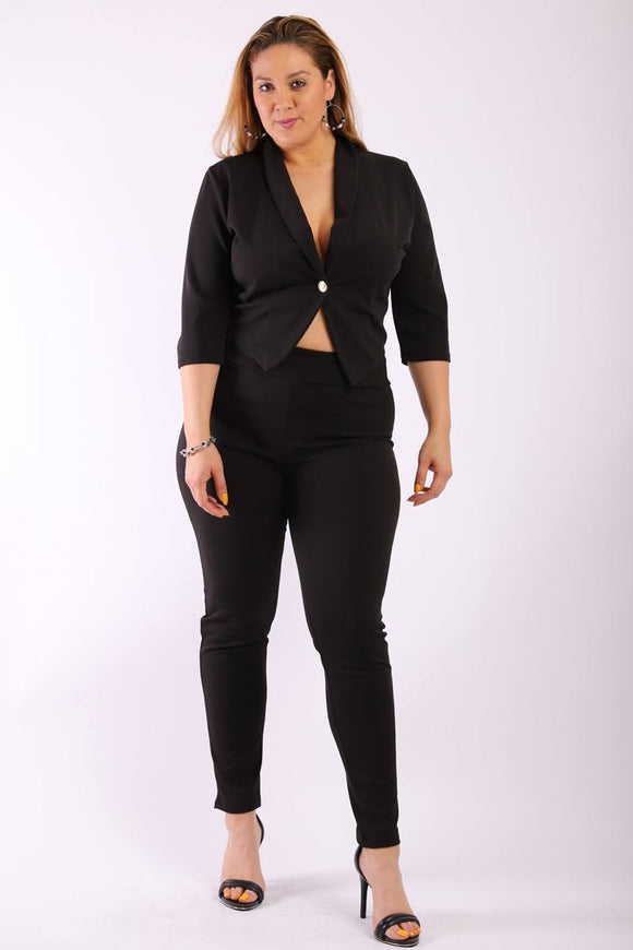 Fitted Two Piece Set Blazer with high waist pants