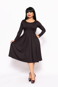 Solid Midi , A-line Dress