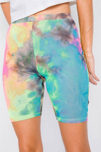 Neon Multi Tie Dye Mesh Sheer High-waist Biker Shorts