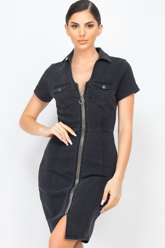 Zip Front Denim Mini Dress