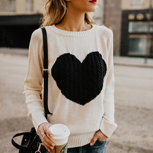 Ladies Heart design knitted pullover casual fashion sweater