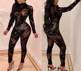 """Lacie"" mock neck long sleeve sheer floral bodycon jumpsuit"