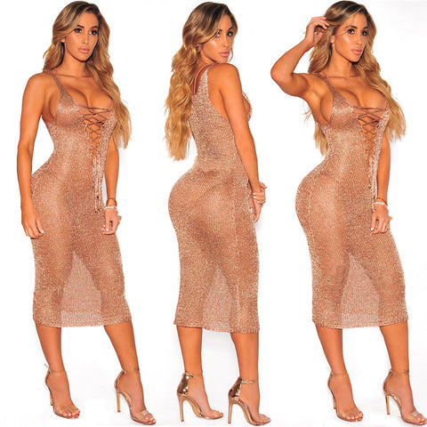 Crochet Sheer glitter bodycon dress