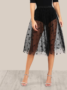 Star sheer couture mesh skirt