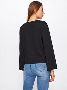 Pearl detail split sleeve top