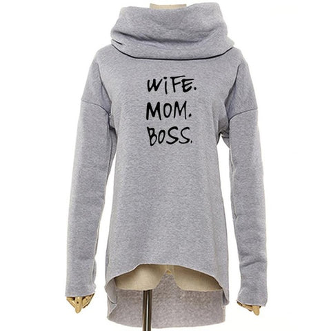 Wife mom boss oversize turtle neck sweater