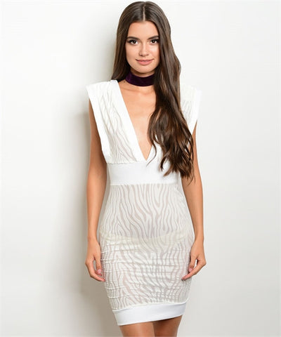 White Velvet Bodycon Mini Dress - Iconic Trendz Boutique