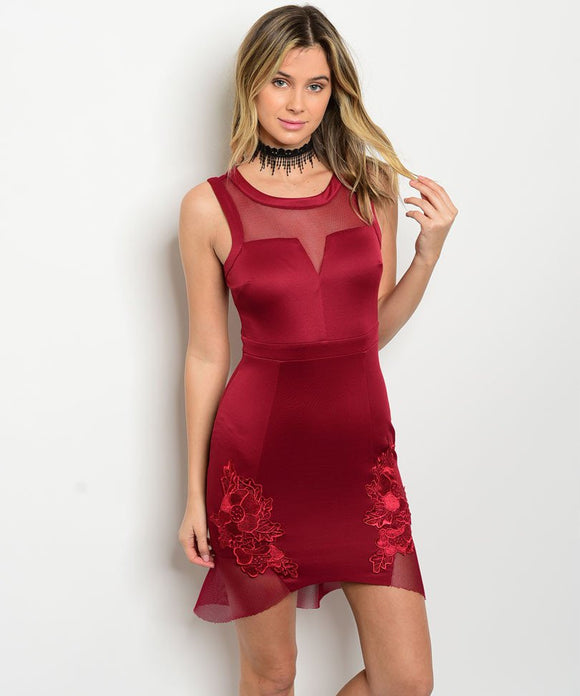 burgundy floral mesh ruffle mini fashion dress