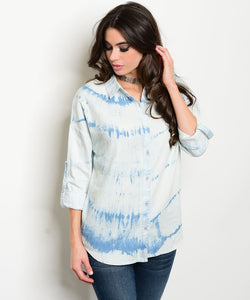 Denim detail fashion shirt - Iconic Trendz Boutique