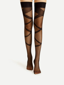 Bandage lace up mesh over the knee stockings