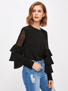 Ladies Ruffle long sleeve fashion top