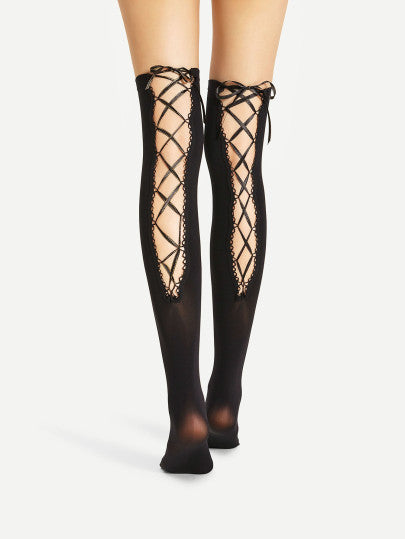Over knee lace up back stockings socks