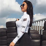 Racer number patch long sleeve bodysuit