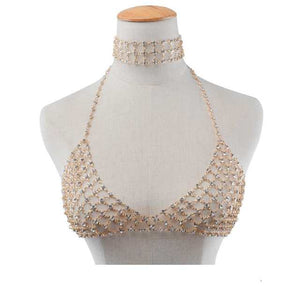 Festive Luxury Rhinestone choker chain bra body jewelry