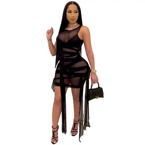 Strappy sheer mesh bodycon dress